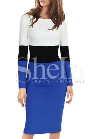 Blue Color Blocked Dress