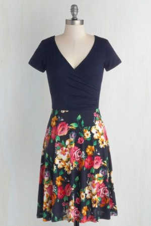 Botanical Breakfast Dress in Navy Blossoms