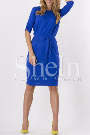 Casual Blue Belted Dress
