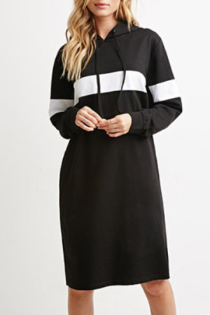 Color Blocked Hooded Dress