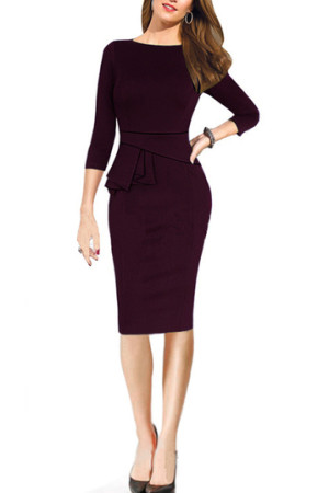 Oxblood Maroon Peplum dress