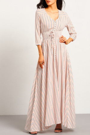 Pink v neck Striped Maxi Dress