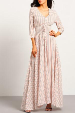 Pink v neck Striped Maxi Dress
