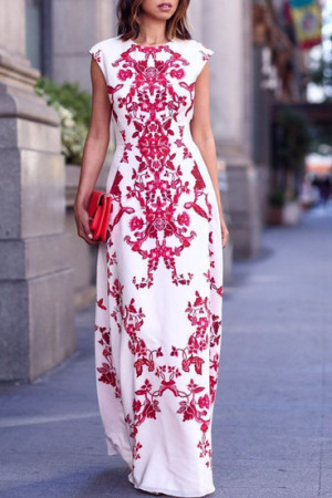 Red Damask Print Dress