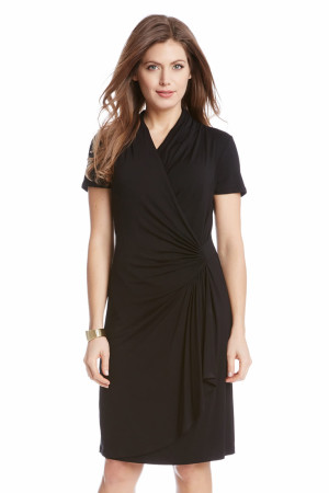 SHORT SLEEVE CASCADE WRAP DRESS