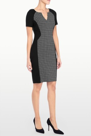 SONYA GRID STRETCH JACQUARD DRESS