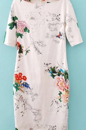 White Butterfly Floral Dress