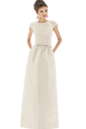 ALFRED SUNG CAP SLEEVE DUPIONI FULL LENGTH DRESS