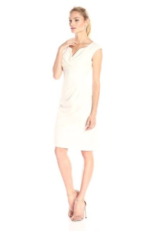 Adrianna Papell V-neck sheath in Eggshell