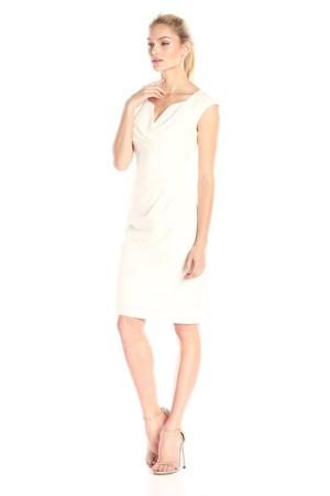 Adrianna Papell V-neck sheath in Eggshell
