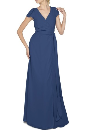 Aurele Cap Sleeve Chiffon Wrap Gown in navy