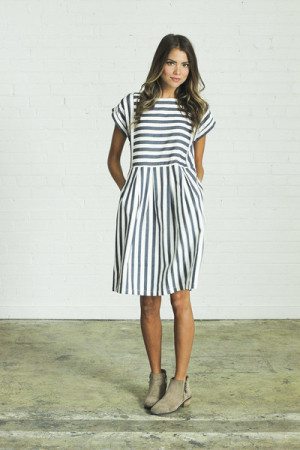 Bib Striped Dress