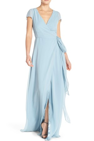 CEREMONY BY JOANNA AUGUST 'AURELE' CAP SLEEVE CHIFFON WRAP GOWN