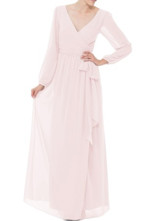 CEREMONY BY JOANNA AUGUST 'HOLLY' WRAP CHIFFON GOWN