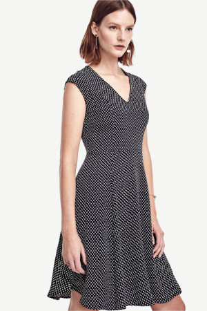 Dot Crepe Fit and Flare