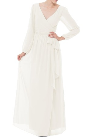 JOANNA AUGUST Holly Wrap Chiffon Gown in white