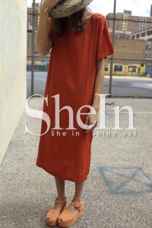 Orange Side Slit Shift Dress