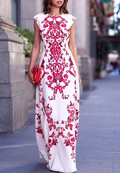 Red and White Maxi Floral