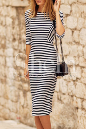 White Black Striped Dress