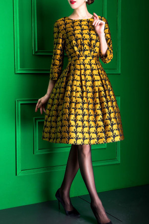 Yellow Elephant Jacquard Knee Length A-Line Dress