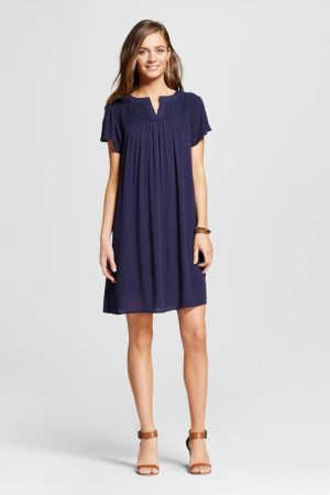 a line dress with lace in navy
