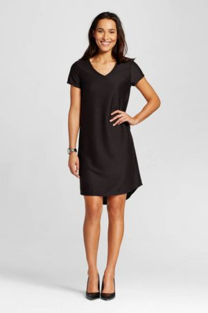 textured t shirt dress black