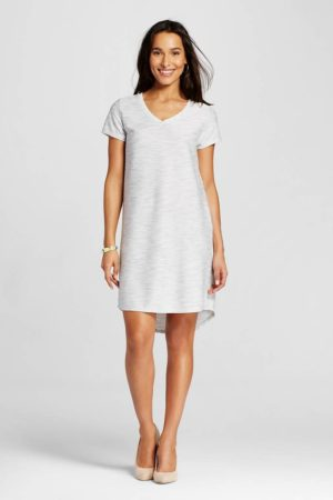 textured tshirt dress gray
