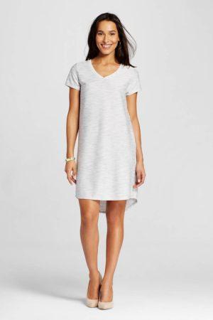 textured tshirt dress gray
